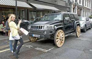 Wooden wheels on a hummer